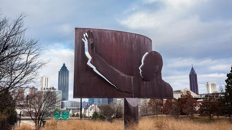MLK Center Bronze Sculpture on Freedom Parkway