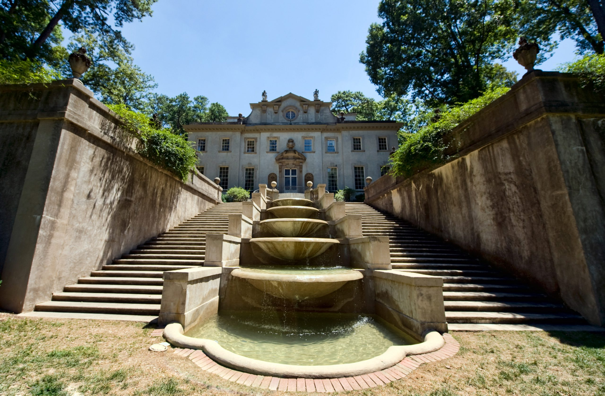 The stairs and fountain behind the Swan House at Atlanta History Center.