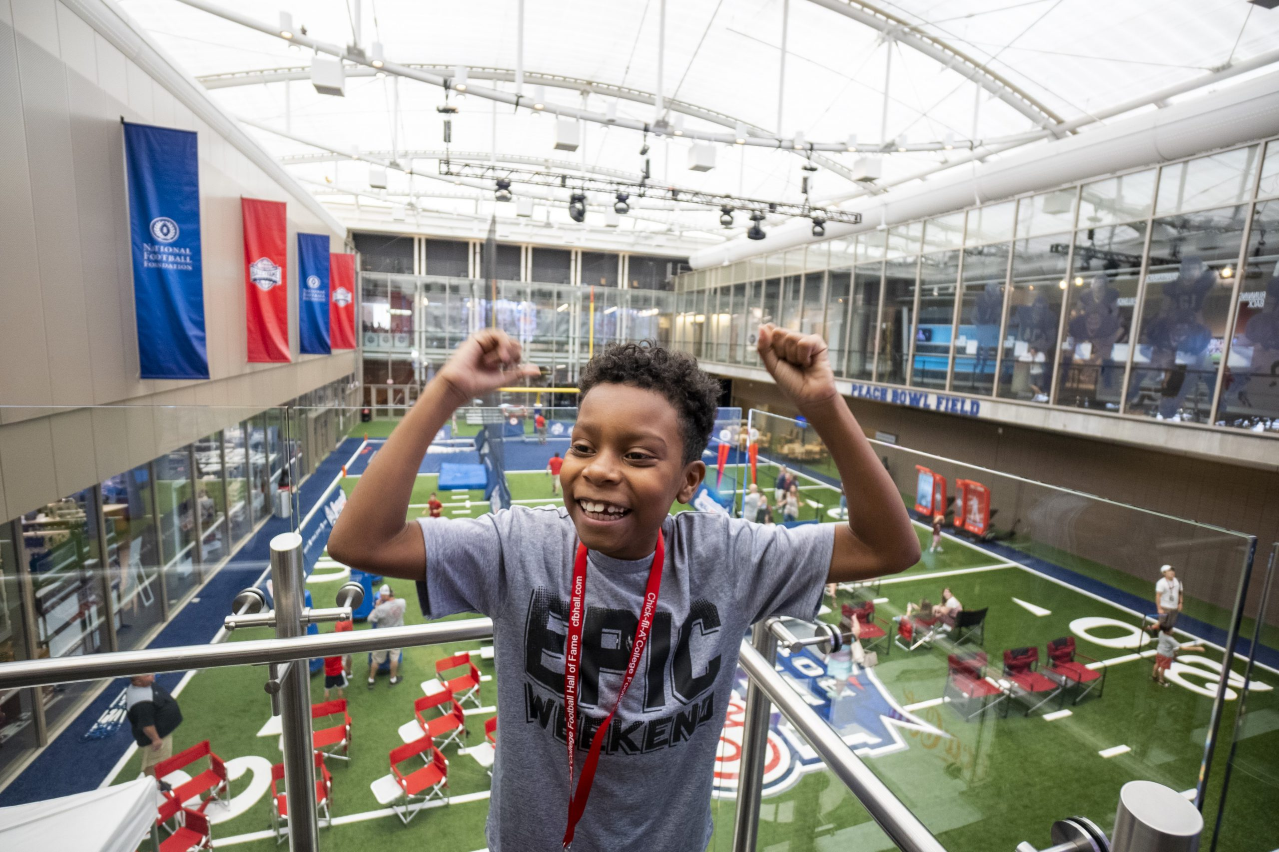 Boy at Chick-fil-A College Football Hall of Fame
